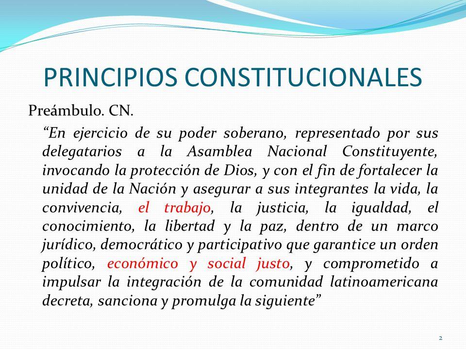 PRINCIPIOS CONSTITUCIONALES Preámbulo. CN. En ejercicio de su poder soberano, representado por sus delegatarios a la Asamblea Nacional Constituyente,