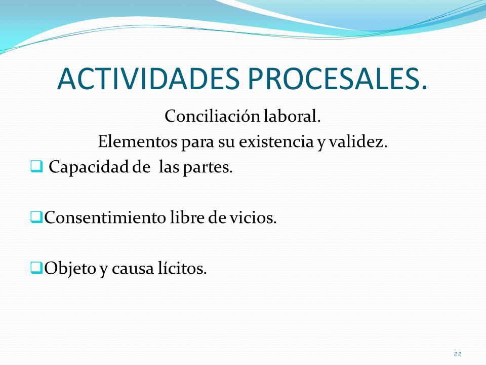 ACTIVIDADES PROCESALES. Conciliación laboral. Elementos para su existencia y validez. Capacidad de las partes. Consentimiento libre de vicios. Objeto