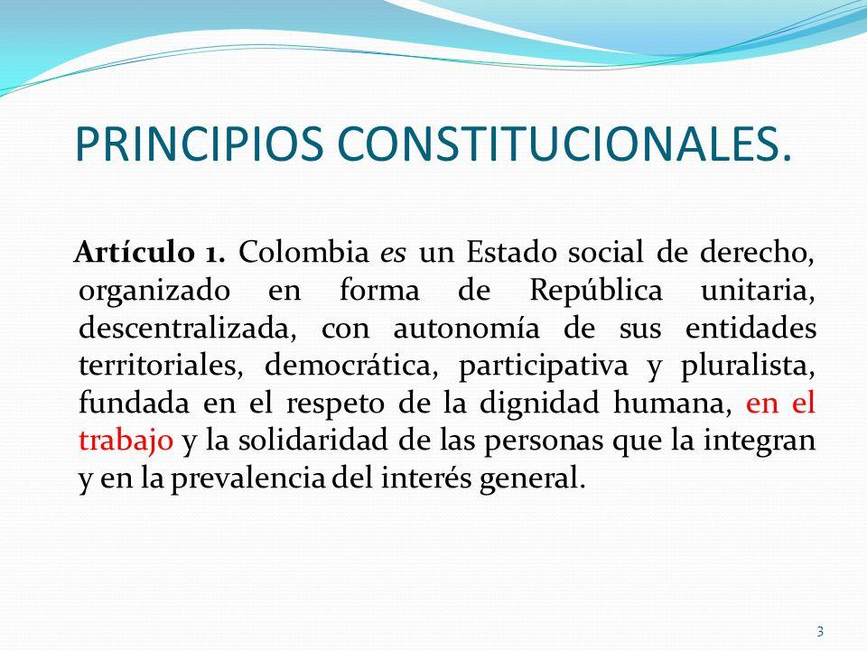 PRINCIPIOS CONSTITUCIONALES. Artículo 1. Colombia es un Estado social de derecho, organizado en forma de República unitaria, descentralizada, con auto