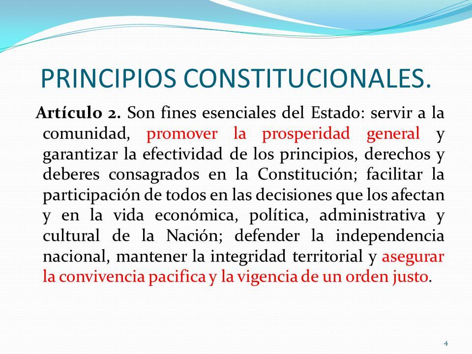 PRINCIPIOS CONSTITUCIONALES. Artículo 2. Son fines esenciales del Estado: servir a la comunidad, promover la prosperidad general y garantizar la efect