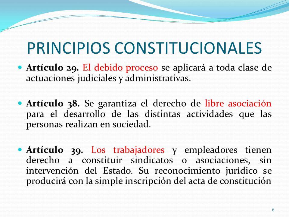 PRINCIPIOS CONSTITUCIONALES Artículo 29. El debido proceso se aplicará a toda clase de actuaciones judiciales y administrativas. Artículo 38. Se garan