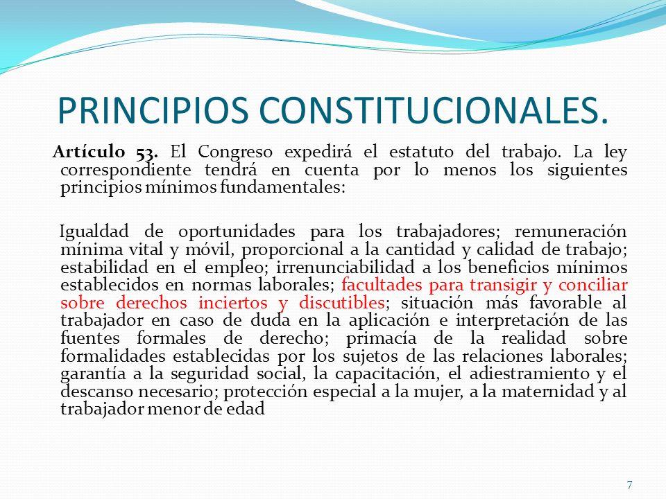 PRINCIPIOS CONSTITUCIONALES. Artículo 53. El Congreso expedirá el estatuto del trabajo. La ley correspondiente tendrá en cuenta por lo menos los sigui