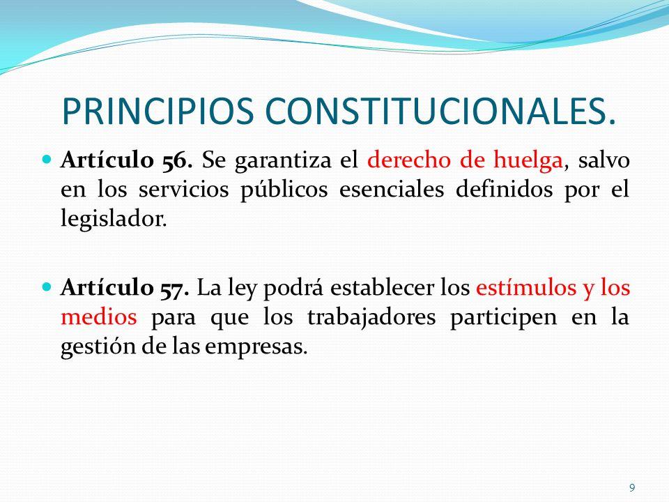 PRINCIPIOS CONSTITUCIONALES. Artículo 56. Se garantiza el derecho de huelga, salvo en los servicios públicos esenciales definidos por el legislador. A