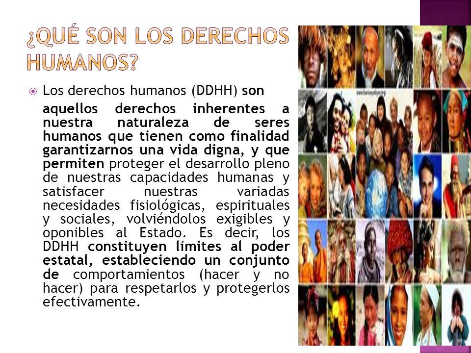 Los derechos humanos (DDHH) son aquellos derechos inherentes a nuestra naturaleza de seres humanos que tienen como finalidad garantizarnos una vida di