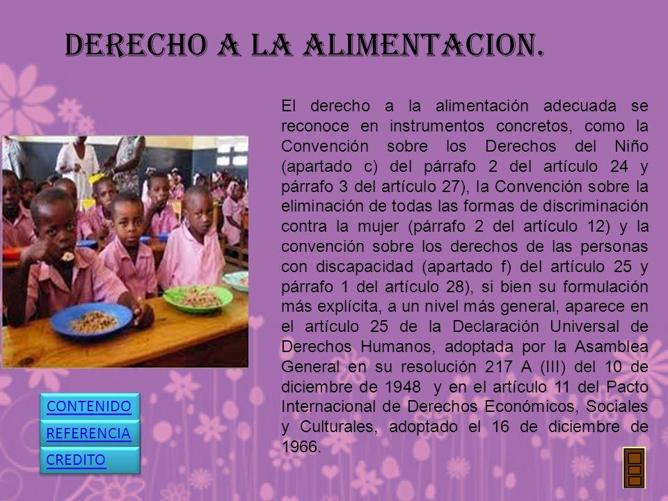 DERECHO A LA ALIMENTACION. El derecho a la alimentación adecuada se reconoce en instrumentos concretos, como la Convención sobre los Derechos del Niño