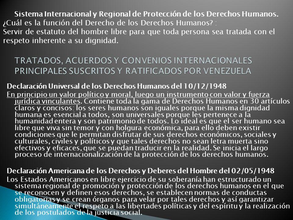 Declaración Universal de los Derechos Humanos del 10/12/1948 En principio un valor político y moral, luego un instrumento con valor y fuerza jurídica