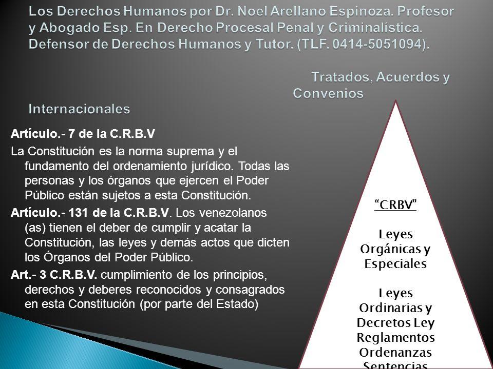 Artículo.- 7 de la C.R.B.V La Constitución es la norma suprema y el fundamento del ordenamiento jurídico. Todas las personas y los órganos que ejercen
