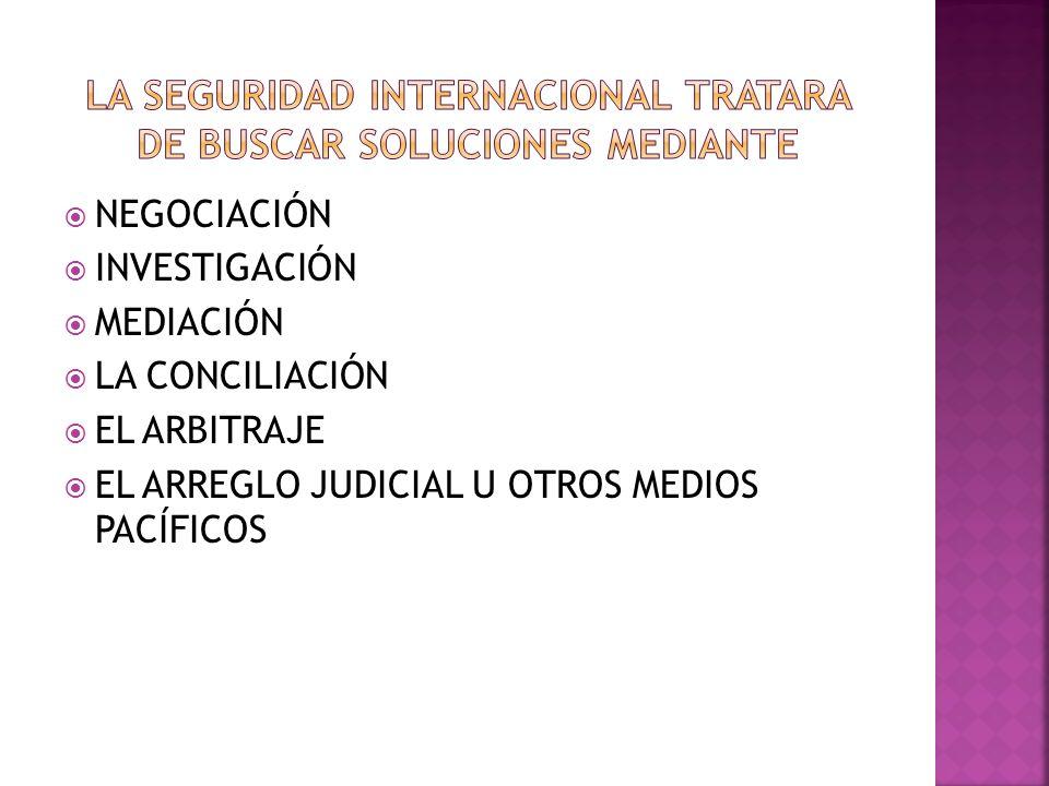 NEGOCIACIÓN INVESTIGACIÓN MEDIACIÓN LA CONCILIACIÓN EL ARBITRAJE EL ARREGLO JUDICIAL U OTROS MEDIOS PACÍFICOS