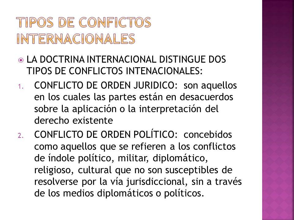 LA DOCTRINA INTERNACIONAL DISTINGUE DOS TIPOS DE CONFLICTOS INTENACIONALES: 1.