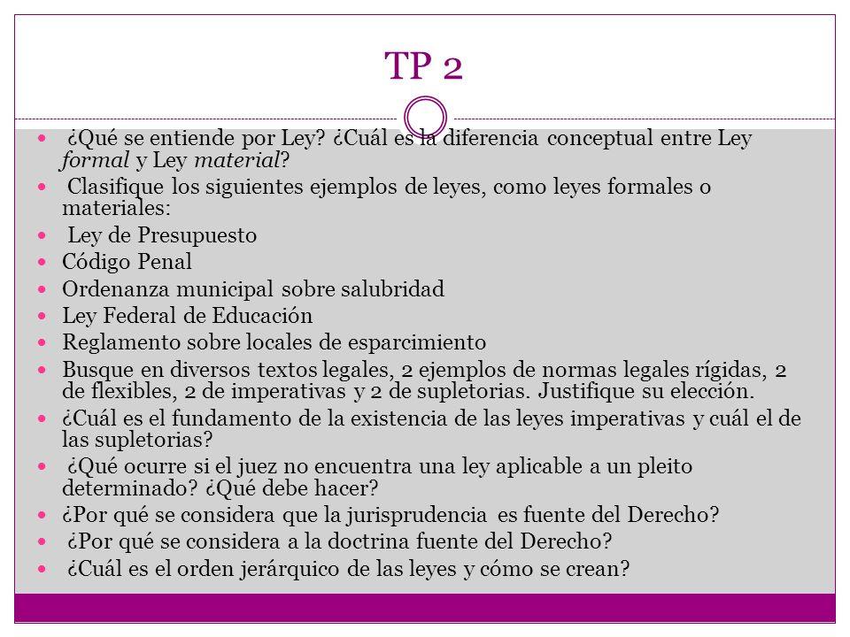 TP 2 ¿Qué se entiende por Ley? ¿Cuál es la diferencia conceptual entre Ley formal y Ley material? Clasifique los siguientes ejemplos de leyes, como le