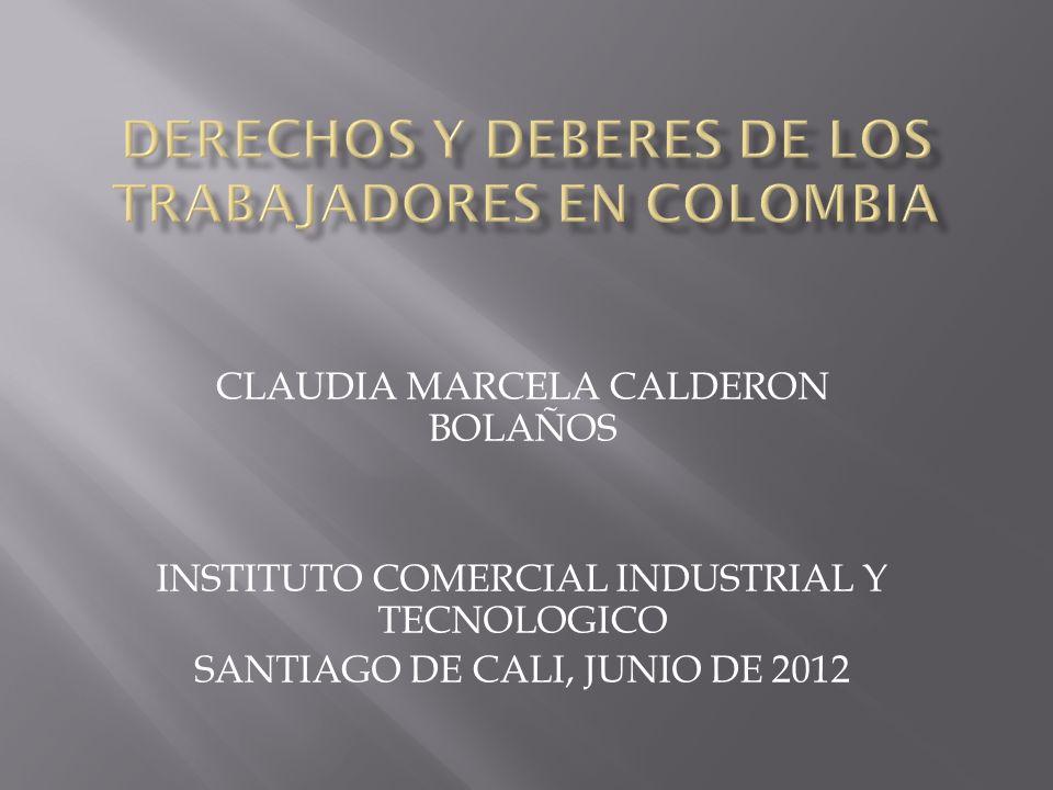 CLAUDIA MARCELA CALDERON BOLAÑOS INSTITUTO COMERCIAL INDUSTRIAL Y TECNOLOGICO SANTIAGO DE CALI, JUNIO DE 2012