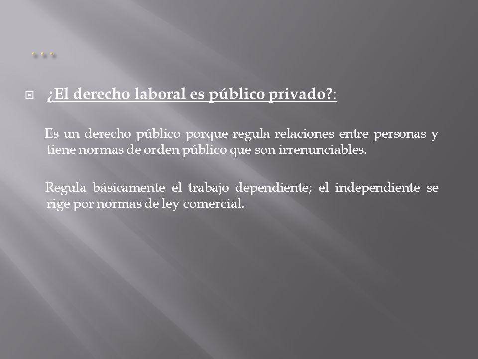 ¿El derecho laboral es público privado? : Es un derecho público porque regula relaciones entre personas y tiene normas de orden público que son irrenu