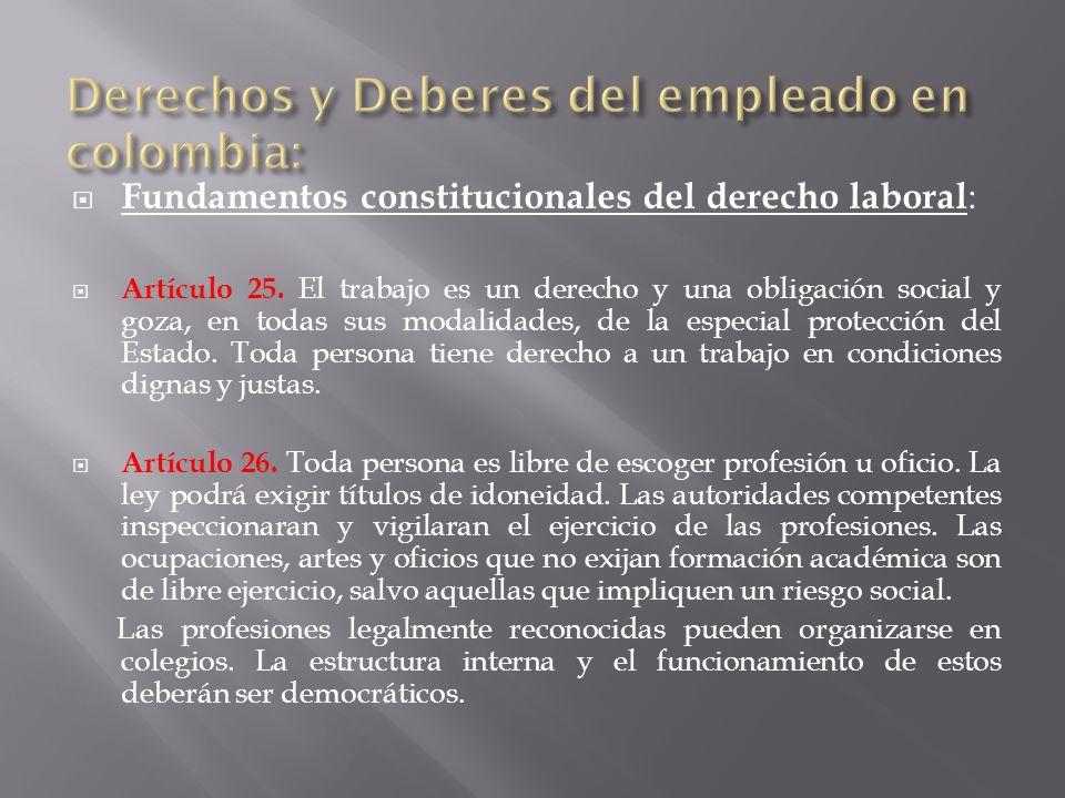 Fundamentos constitucionales del derecho laboral : Artículo 25.