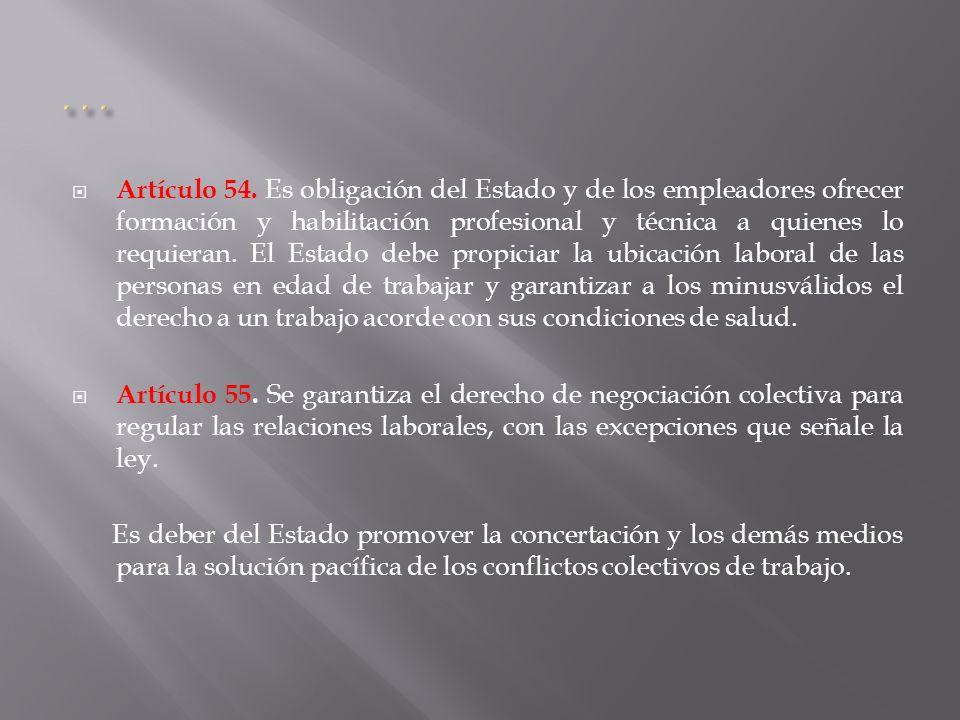 Artículo 54. Es obligación del Estado y de los empleadores ofrecer formación y habilitación profesional y técnica a quienes lo requieran. El Estado de