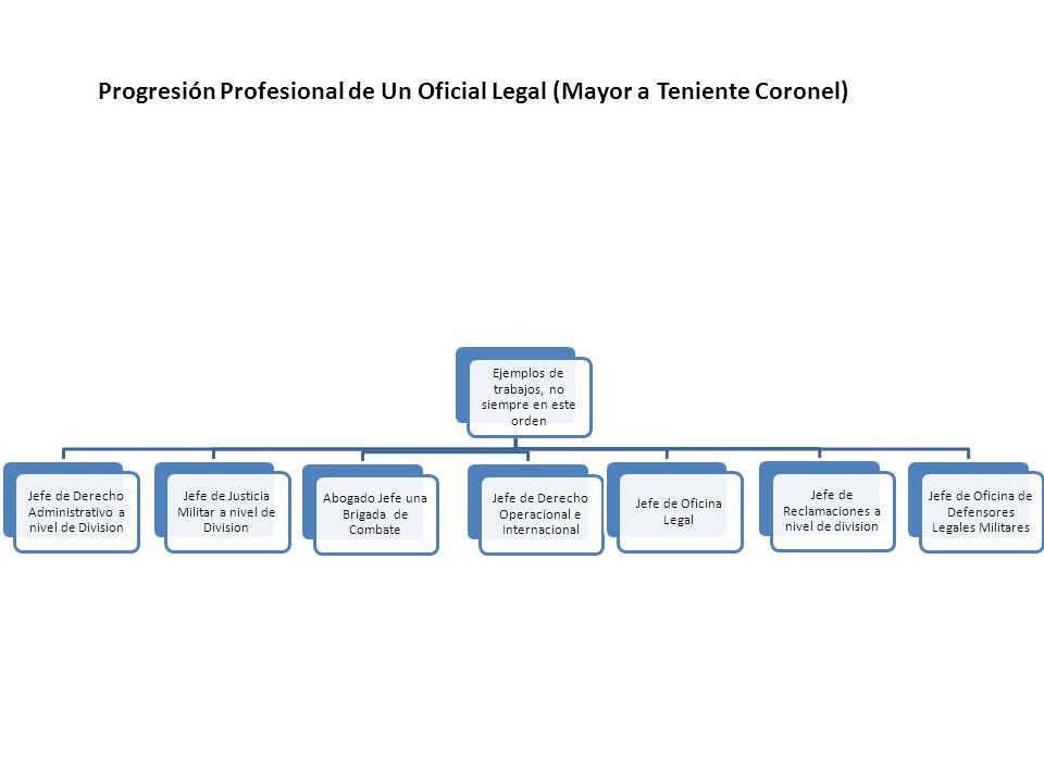 Ejemplos de trabajos, no siempre en este orden Jefe de Derecho Administrativo a nivel de Division Jefe de Justicia Militar a nivel de Division Abogado