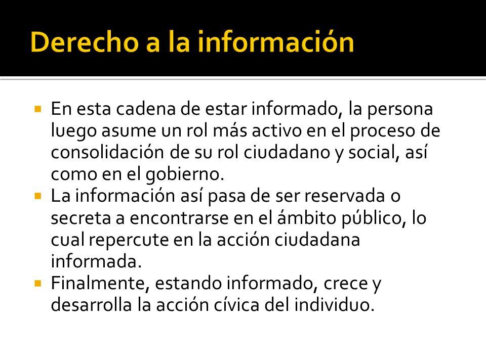 En esta cadena de estar informado, la persona luego asume un rol más activo en el proceso de consolidación de su rol ciudadano y social, así como en el gobierno.