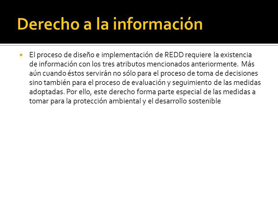 El proceso de diseño e implementación de REDD requiere la existencia de información con los tres atributos mencionados anteriormente.