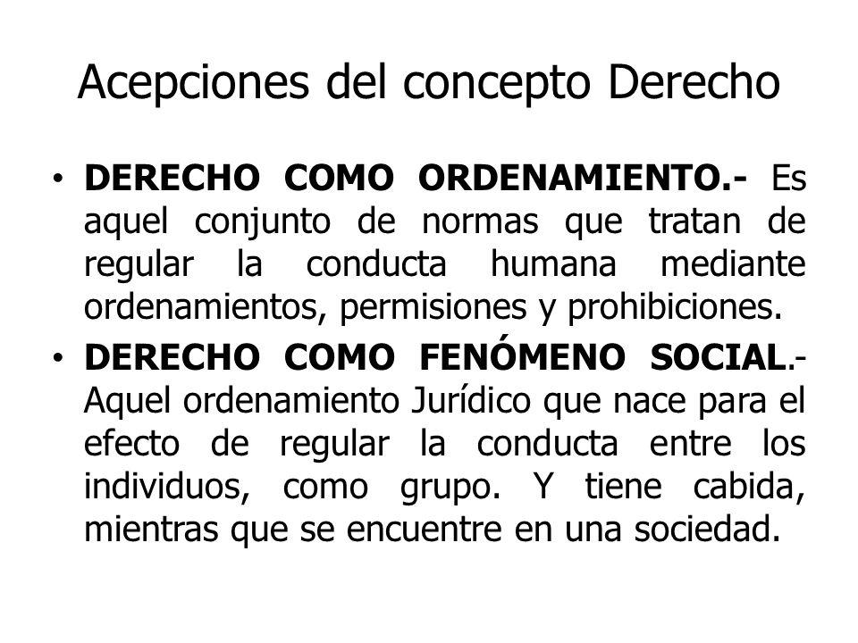 Acepciones del concepto Derecho DERECHO COMO ORDENAMIENTO.- Es aquel conjunto de normas que tratan de regular la conducta humana mediante ordenamiento
