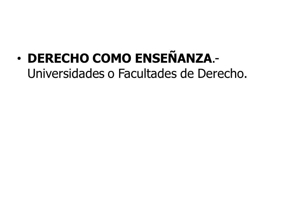 DERECHO COMO ENSEÑANZA.- Universidades o Facultades de Derecho.