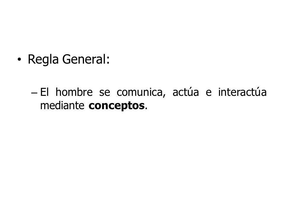 Regla General: – El hombre se comunica, actúa e interactúa mediante conceptos.