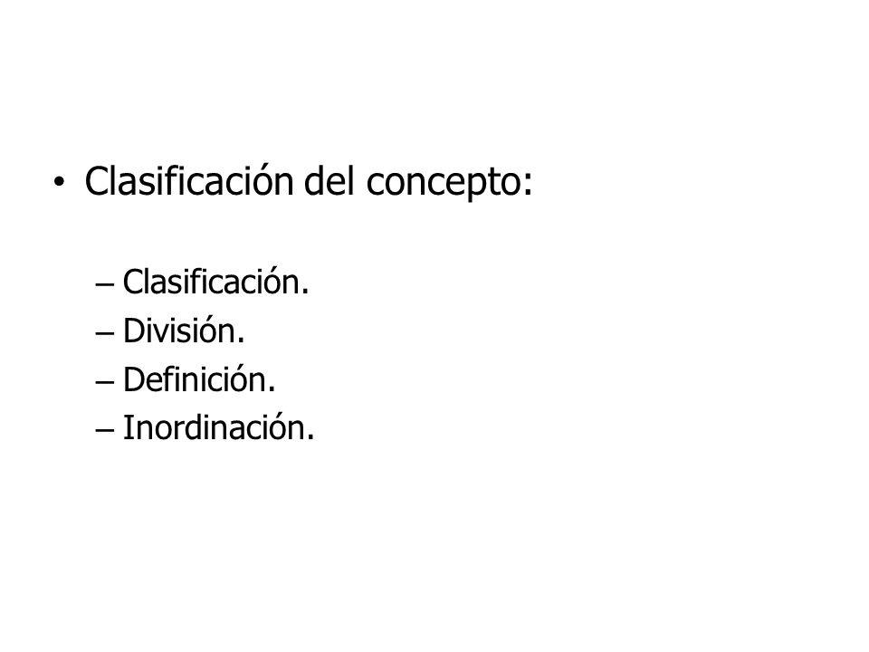 Clasificación.- – Es la operación por medio de la cual se obtienen serialmente los diferentes conceptos subordinados de otro que funge como concepto genérico.