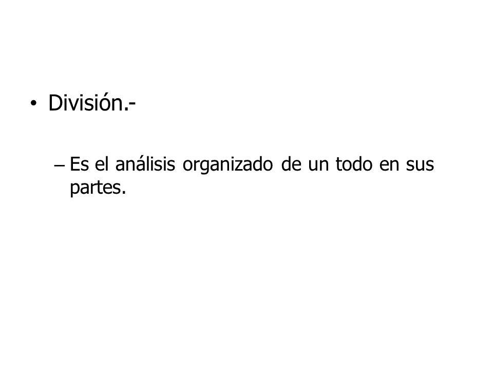 División.- – Es el análisis organizado de un todo en sus partes.