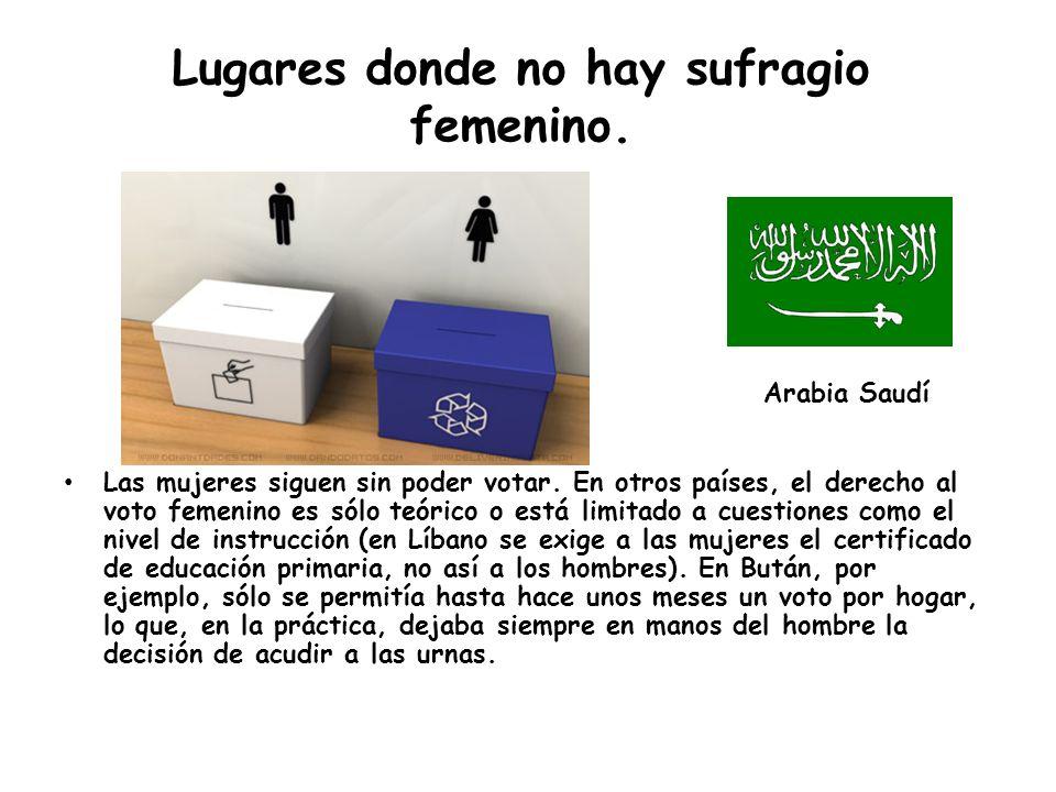 Lugares donde no hay sufragio femenino.Las mujeres siguen sin poder votar.