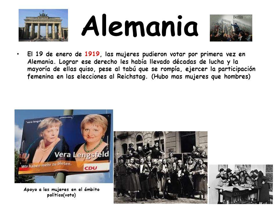 Alemania El 19 de enero de 1919, las mujeres pudieron votar por primera vez en Alemania.