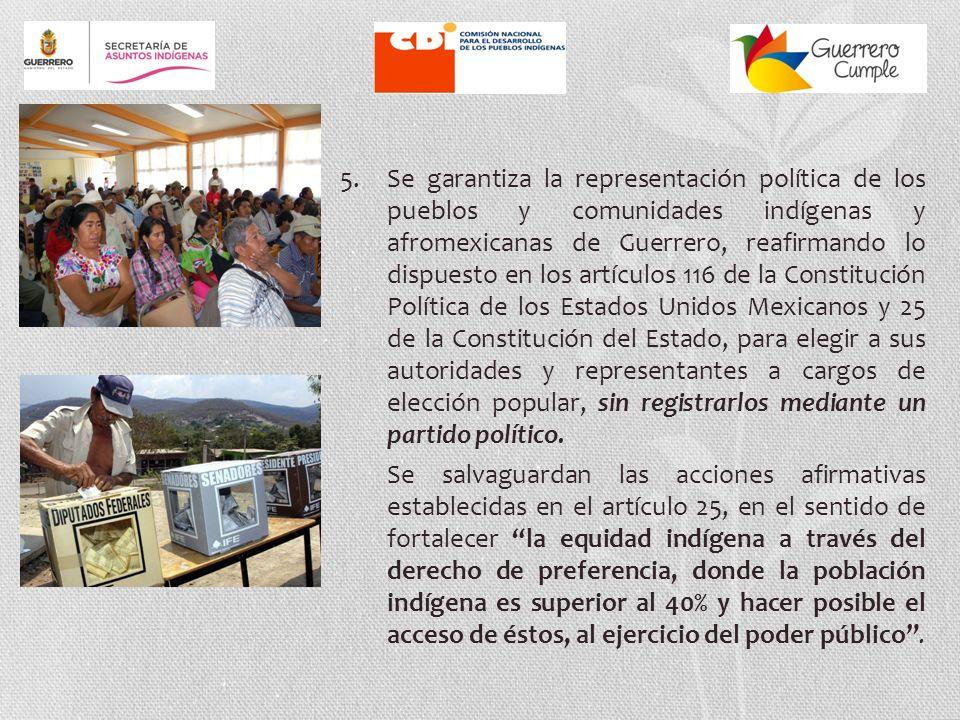 4. Se ratifica y garantiza el derecho de los pueblos y comunidades indígenas y afromexicanas a la libre determinación y a la autonomía, ya establecido