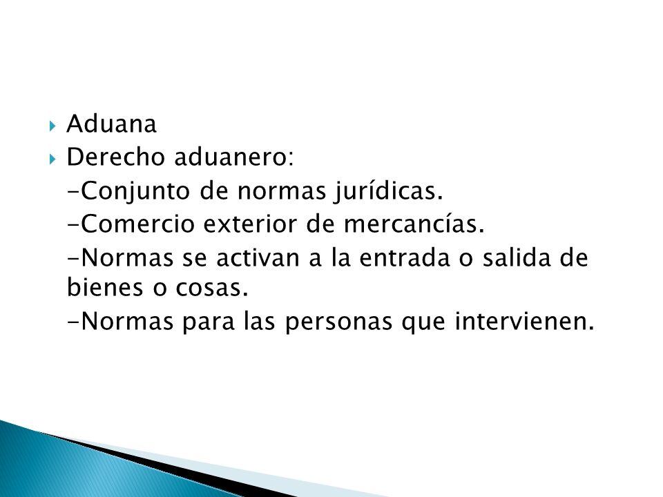 Aduana Derecho aduanero: -Conjunto de normas jurídicas.
