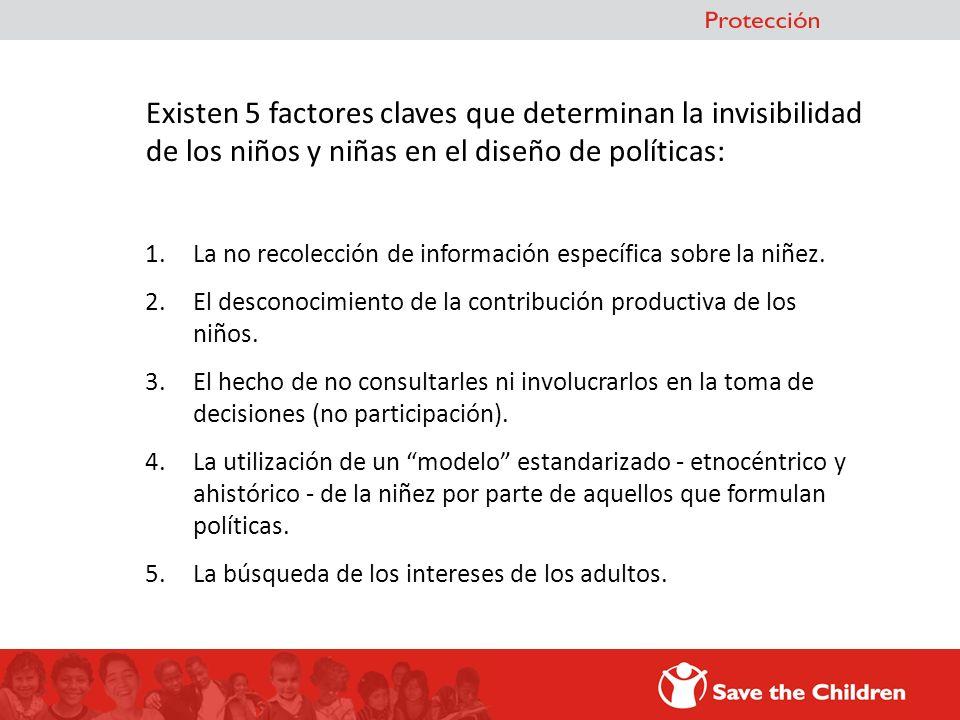 Existen 5 factores claves que determinan la invisibilidad de los niños y niñas en el diseño de políticas: 1.La no recolección de información específic