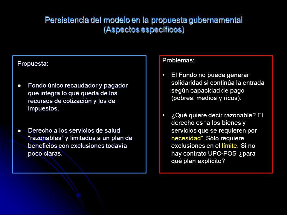 Persistencia del modelo en la propuesta gubernamental (Aspectos específicos) Propuesta: Fondo único recaudador y pagador que integra lo que queda de los recursos de cotización y los de impuestos.