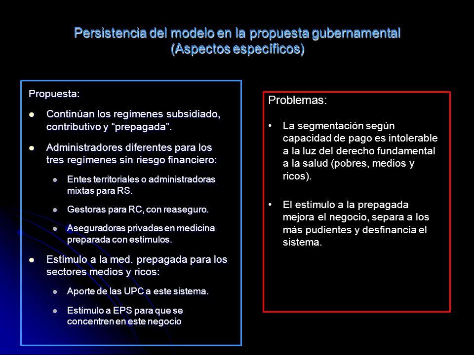 Persistencia del modelo en la propuesta gubernamental (Aspectos específicos) Propuesta: Continúan los regímenes subsidiado, contributivo y prepagada.