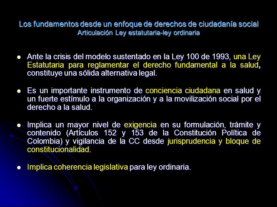 Los fundamentos desde un enfoque de derechos de ciudadanía social Articulación Ley estatutaria-ley ordinaria Ante la crisis del modelo sustentado en la Ley 100 de 1993, una Ley Estatutaria para reglamentar el derecho fundamental a la salud, constituye una sólida alternativa legal.