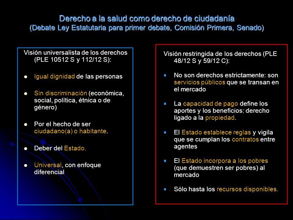 Derecho a la salud como derecho de ciudadanía (Debate Ley Estatutaria para primer debate, Comisión Primera, Senado) Visión universalista de los derech