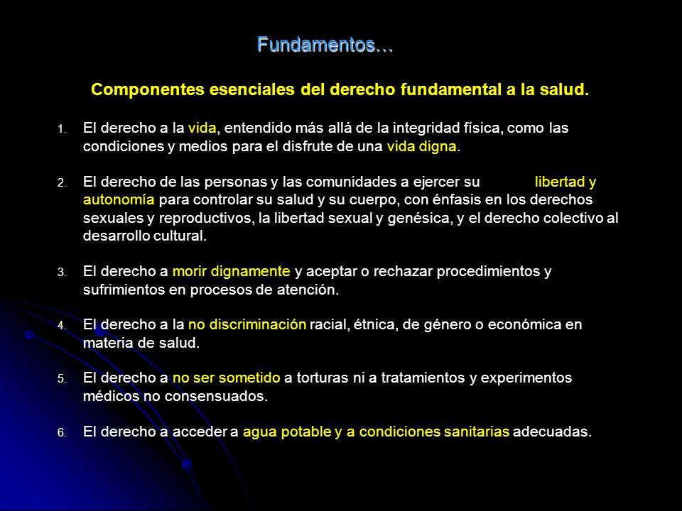 Fundamentos… Componentes esenciales del derecho fundamental a la salud. 1. 1. El derecho a la vida, entendido más allá de la integridad física, como l