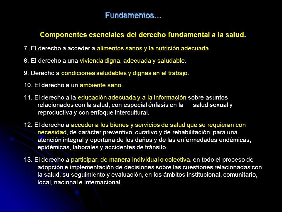 Fundamentos… Componentes esenciales del derecho fundamental a la salud.