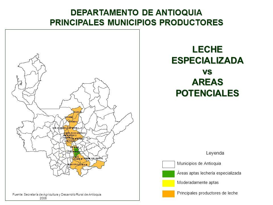 Fuente: Secretaría de Agricultura y Desarrollo Rural de Antioquia 2006 DEPARTAMENTO DE ANTIOQUIA PRINCIPALES MUNICIPIOS PRODUCTORES Leyenda Municipios