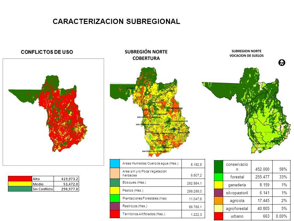 CARACTERIZACION SUBREGIONAL conservacio n452.00058% forestal255.47733% ganaderia8.1591% silvopastoril6.1411% agricola17.4452% agroforestal40.8055% urb