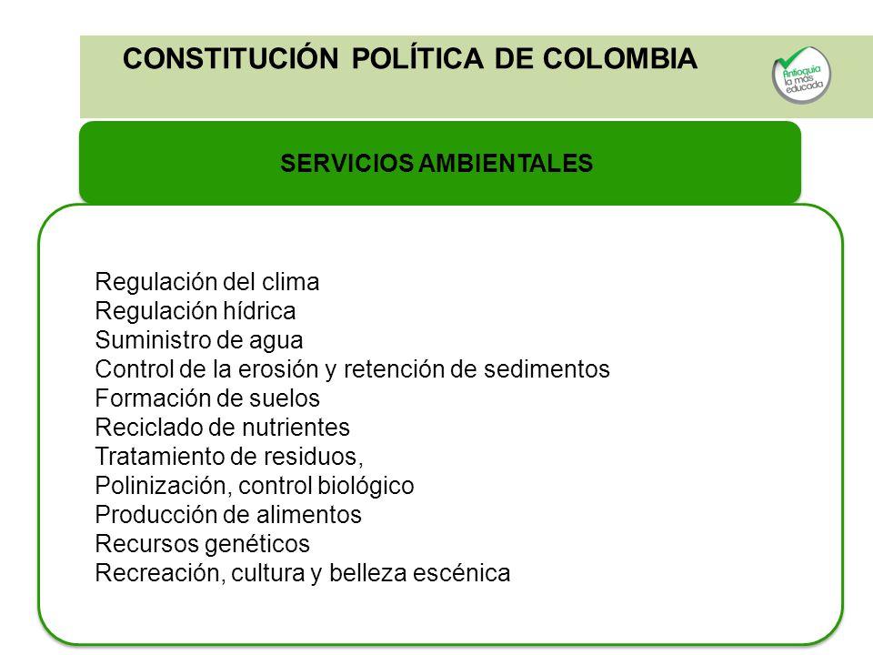 CONSTITUCIÓN POLÍTICA DE COLOMBIA SERVICIOS AMBIENTALES Regulación del clima Regulación hídrica Suministro de agua Control de la erosión y retención d