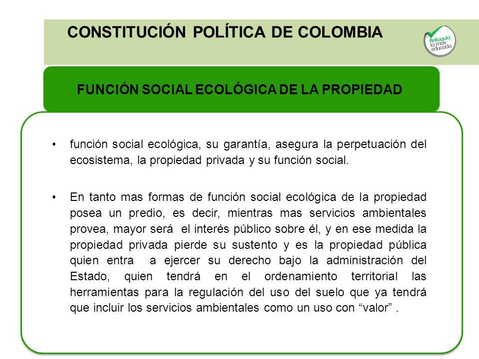 CONSTITUCIÓN POLÍTICA DE COLOMBIA FUNCIÓN SOCIAL ECOLÓGICA DE LA PROPIEDAD función social ecológica, su garantía, asegura la perpetuación del ecosiste