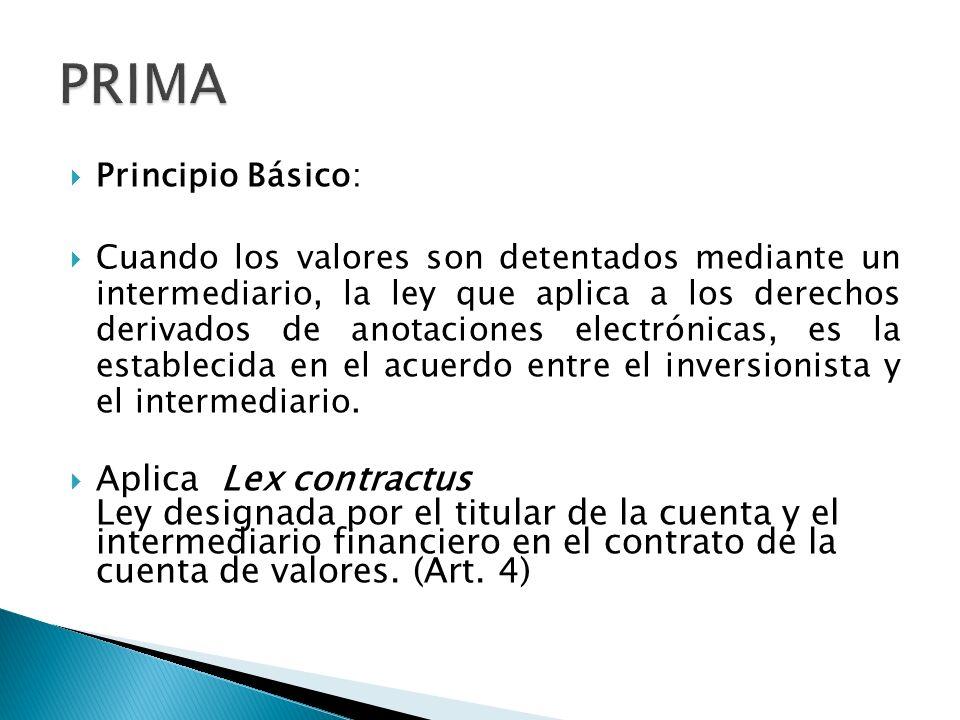 Principio Básico: Cuando los valores son detentados mediante un intermediario, la ley que aplica a los derechos derivados de anotaciones electrónicas,