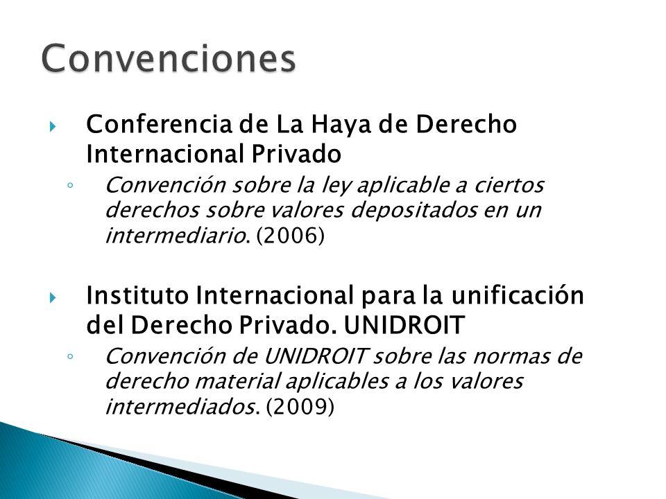 Conferencia de La Haya de Derecho Internacional Privado Convención sobre la ley aplicable a ciertos derechos sobre valores depositados en un intermedi