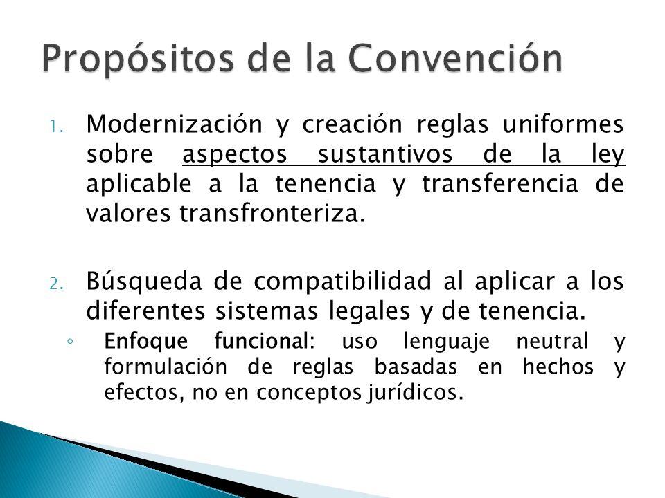 1. Modernización y creación reglas uniformes sobre aspectos sustantivos de la ley aplicable a la tenencia y transferencia de valores transfronteriza.
