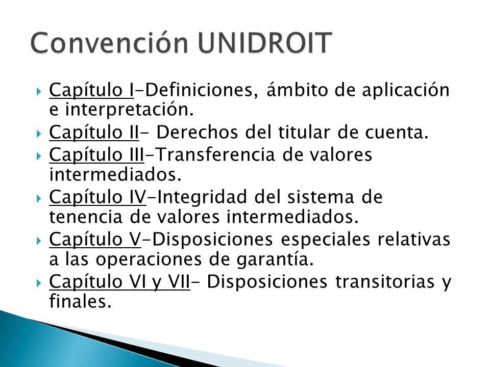 Capítulo I-Definiciones, ámbito de aplicación e interpretación. Capítulo II- Derechos del titular de cuenta. Capítulo III-Transferencia de valores int