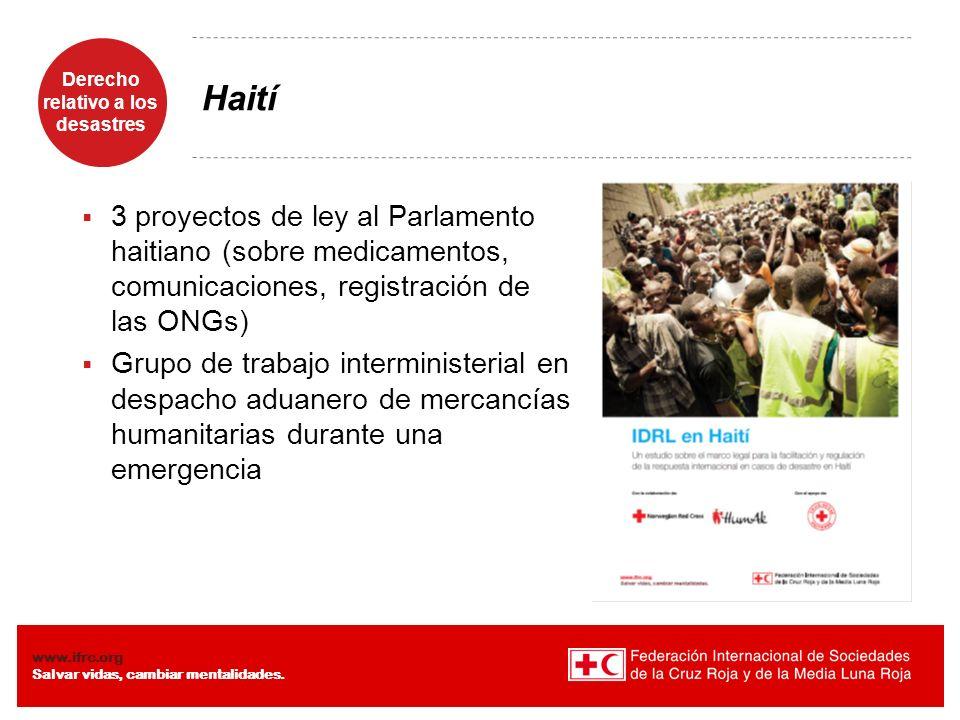 Derecho relativo a los desastres Diaposiiva 10 www.ifrc.org Salvar vidas, cambiar mentalidades. Haití 3 proyectos de ley al Parlamento haitiano (sobre
