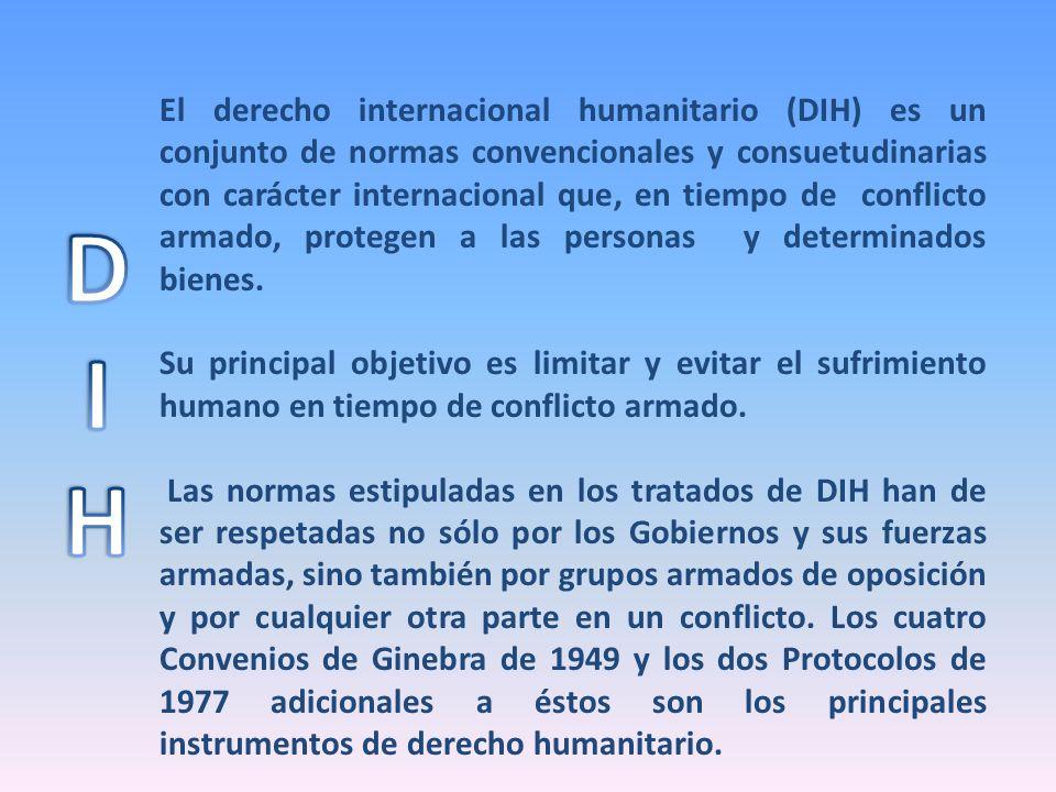 El derecho internacional humanitario (DIH) es un conjunto de normas convencionales y consuetudinarias con carácter internacional que, en tiempo de con