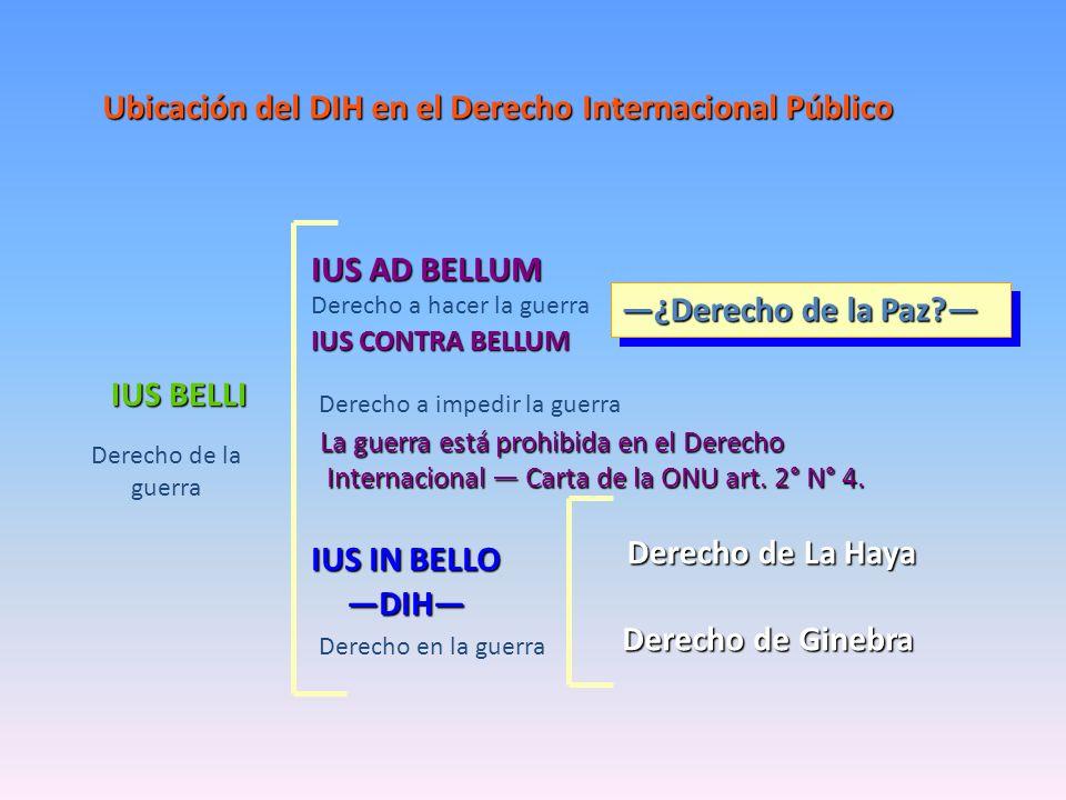 Ubicación del DIH en el Derecho Internacional Público IUS AD BELLUM La guerra está prohibida en el Derecho Internacional Carta de la ONU art. 2° N° 4.