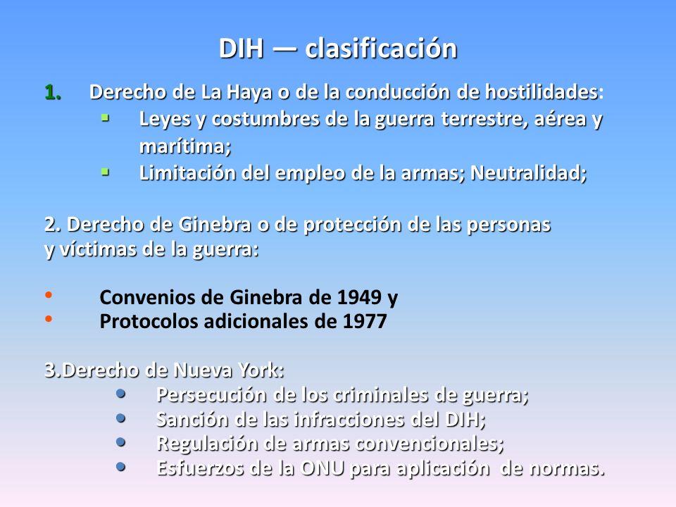 DIH clasificación 1.Derecho de La Haya o de la conducción de hostilidades 1.Derecho de La Haya o de la conducción de hostilidades: Leyes y costumbres