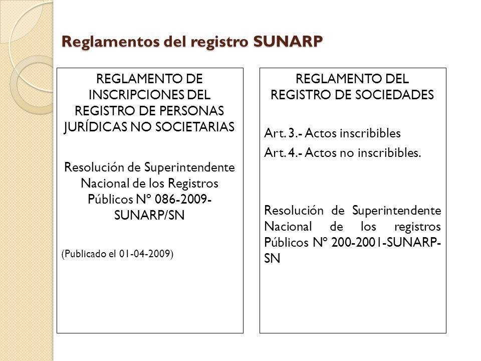 Reglamentos del registro SUNARP REGLAMENTO DE INSCRIPCIONES DEL REGISTRO DE PERSONAS JURÍDICAS NO SOCIETARIAS Resolución de Superintendente Nacional d